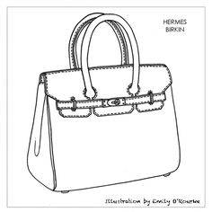 HERMES - BIRKIN BAG - Designer Handbag Illustration / Sketch / Drawing / CAD / Borsa Disegno