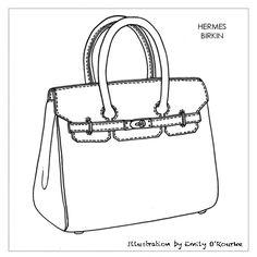 HERMES - BIRKIN BAG - Designer Handbag Illustration / Sketch / Drawing / CAD / Borsa Disegno