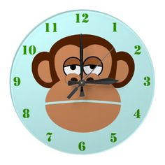 CUTE MONKEY (With Numbers) Kids Wall Clock $28.10  #monkey #animal #clock #blue #cute #gayriot