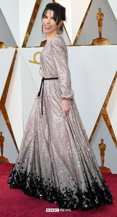 Oscars Best Actress winner Sally Hawkins sparkles in Armani Privé Silver Dress, Gray Dress, Allison Janney, Cultural Events, Armani Prive, Best Actress, Amazing People, Oscars, Red Carpet Fashion