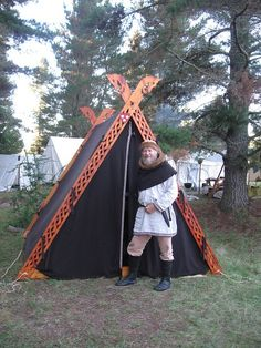 Viking A-frame tent. I love the carved out frames, and it makes it lighter to transport too!