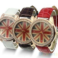 Stylish England UK British Flag Womens Crystal Leather Quartz Wrist Watch BD4U