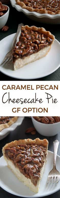This caramel pecan cheesecake pie has a layer of caramel pecans over a cream cheese filling. With gluten-free, whole grain and all-purpose flour options. Perfect for the holidays! Made with @bobsredmill.