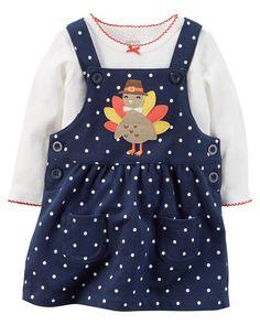 a942facc3d0 New Carter s Girls Jumper Dress Bodysuit Thanksgiving Outfit NWT NB 9 12 18
