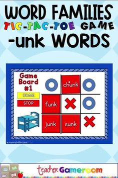 """Practice word families and play Tic-Tac-Toe at the same time! Your students will love reviewing their -unk words with this no prep digital tic-tac-toe game. This game includes 4 board with nine words each. Students choose a word, say it correctly, then place their """"X"""" or """"O"""". Great for a quick ELA morning review or phonics center activity. This is a great game for distance learning! Elementary Teacher, Elementary Education, Teacher Pay Teachers, Too Cool For School, School Stuff, Teacher Resources, Teaching Ideas, First Week Activities, Tic Tac Toe Game"""