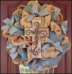 Burlap and Turquoise Wreath by aDOORableDecoWreaths on Etsy by My awesome Life