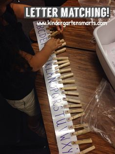 Kindergarten Smarts: simple letter learning idea with pegs
