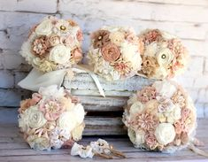 Check out this item in my Etsy shop https://www.etsy.com/listing/235122285/wedding-bouquet-set-fabric-flowers