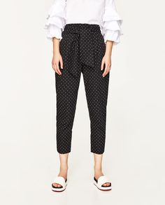 Image 4 of TROUSERS WITH BELT from Zara