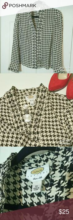 Talbots Size 14 Houndstooth Ruffle 100% Silk Top 100% pure silk blouse. Houndstooth pattern. Ruffles around neck, buttons and cuff. Great condition.  Size 14 Talbots Tops Blouses