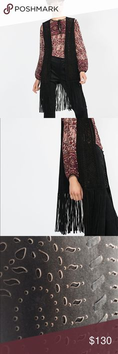 NEW Zara black suede Long waist vest with fringe Small. Will fit a Medium also. Soft, lightweight. Perforated front design. Zara Jackets & Coats Vests