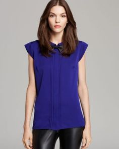 NWT MILLY USA Silk Sleeveless Top with Detachable Leather Bowtie -Violet -Size 2