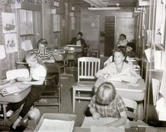 Mickey Mouse Club kids in their studio school room - 1956 -- I see Mike Stolery (Spin & Marty on the left) and Darleen and Annette on the right.