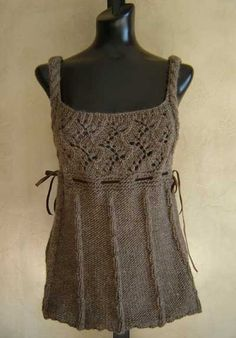 Romantic Cable and Lace Knit Vest Knitting Pattern from SweaterBabe.com  #SweaterBabe.com #knitting