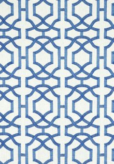 ALSTON TRELLIS EMBROIDERY, <br /> Blue on White, <br /> W713029, <br /> Collection Monterey from Thibaut