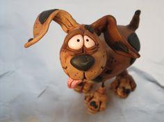 Polymer Clay Hounddog Spot the Dog
