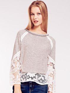 Dahlia Lizzie Lace Trim Jersey Sweatshirt | Dahlia