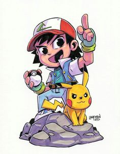 **Price is in US Dollars** Ash and Pikachu - Ink and Marker original artwork. Original Art is bagged, boarded and sent in a sturdy envelope and shipped with a tracking number. Cartoon Kunst, Comic Kunst, Cartoon Drawings, Cartoon Art, Cute Drawings, Cartoon Characters, Comic Art, Pikachu Pikachu, Logo Super Heros