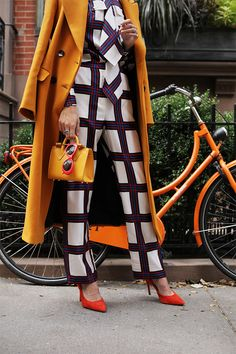 Silk Check Pants and Bow Blouse: Tory Burch (shop all the chic check pieces below). Coat: Zara. Heels: Old, similar. Bag: Strathberry.