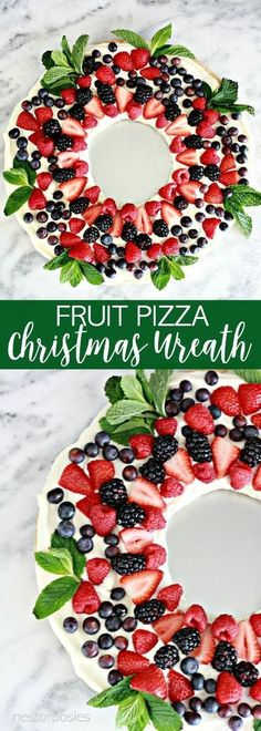 christmas desserts Fruit Pizza Christmas Wreath is the perfect thing to make for your Christmas parties. A light delicious dessert that makes a creative Christmas wreath. Best Christmas Appetizers, Christmas Party Food, Xmas Food, Christmas Brunch, Christmas Sweets, Christmas Cooking, Christmas Holidays, Christmas Wreaths, Christmas Pizza