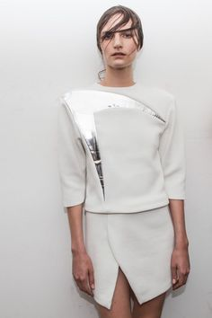 Graphic Minimalism - top with contrasting silver panel detail; contemporary fashion // Louise Goldin