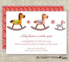 GIRL BABY SHOWER Invitations Rocking Horse by CardtopiaDesigns