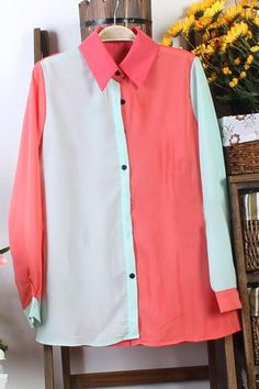 Sweet Color Spliced Chiffon Shirt