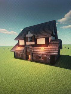 Minecraft Starter House, Minecraft House Plans, Easy Minecraft Houses, Minecraft Castle, Minecraft Medieval, Minecraft Bedroom, Minecraft Blueprints, Minecraft Creations, Lego Minecraft