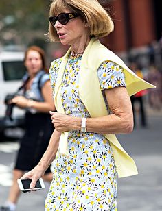 Anna Wintour in a printed dress and cardigan // Photo: The Styleograph #NYFW #streetstyle