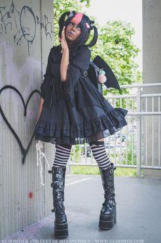 Gloomth Bat Doll Gothic Lolita Babydoll Dress Sizes Small to In Stock Harajuku Fashion, Kawaii Fashion, Lolita Fashion, Grunge Fashion, Gothic Fashion, Emo Fashion, Steampunk Fashion, Fashion Dresses, Scene Outfits
