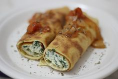 Pancake with ricotta cheese and spinach
