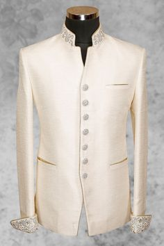#Cream majestic #raw silk suit with bandhgala collar-ST481