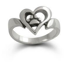 A brand new design and a great way to show others your love for your dog or cat with our 'Open Heart and Paw Print Ring'.  An open, free formed shape heart frames this adorable paw print in a ring.  Another animal jewelry piece of art - very different.   The actual