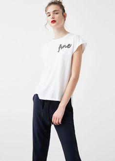 T-shirt mit text und perlenbesatz - T-shirts für Damen | MANGO Deutschland