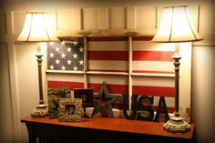 LOVE this!!! An American Flag behind a country-style window :)