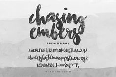 Brush font that has ink/watercolor texture of its own. No need to overlay anything, just throw it over your photographs and projects! This font is a c...