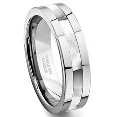 Tungsten Carbide Mother of Pearl Inlay Wedding Band Ring