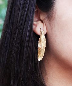 I ADORN U Gold Feather Drop Earrings | zulily