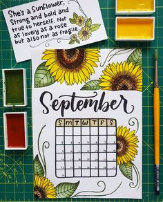 43 Super Sunny Sunflower bullet journal layout ideas Its been a popular theme during summer! So we have forund 43 sunny stunning sunflower bullet journal layout ideas and spreads to show you and Bullet Journal September Cover, Bullet Journal Cover Page, Bullet Journal 2019, Bullet Journal Notebook, Bullet Journal Monthly Spread, Bullet Journal Themes, Bullet Journal Layout, Bullet Journal Inspiration, Journal Ideas