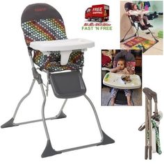 Baby Fold High Chair Seat Adjustable Big Tray Feeding Hold Child Up To 50Ib Tool #Cosco