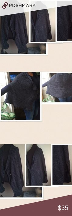 Free People Wool Pancho Sweater Shrug Free People Wool Pancho Sweater. 1 Button front closure. Size: Large. Color: Gray. Preowned with a small repair done to the bottom. Hardly noticeable. Excellent condition. If this condition is not right for you do not purchase. Free People Sweaters Shrugs & Ponchos