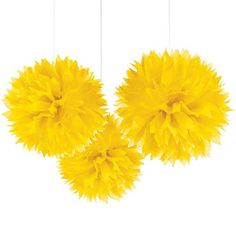 Yellow - Birthday Party Tissue Paper Pom Poms