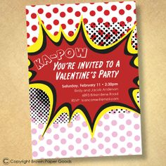 Pop Art Valentine Party invitation by brownpaperstudios on Etsy, $15.00