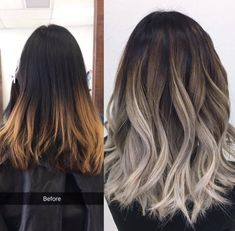 Are you going to balayage hair for the first time and know nothing about this technique? We've gathered everything you need to know about balayage, check! Bold Hair Color, Ombre Hair Color, Hair Color Balayage, Brown Hair Colors, Hair Highlights, Ash Blonde Ombre Hair, Ash Brown Ombre, Ombre Bob, Red Blonde Hair