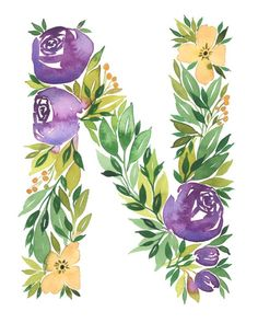 Watercolor alphabet Letter N print Initial N by TulipPoplarCo Watercolor Lettering, Watercolor Flowers, Watercolor Art, Initial Art, Letter Art, Alphabet Wallpaper, Creative Arts And Crafts, Fancy Letters, Mini Canvas Art