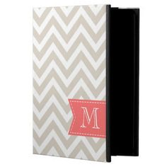 Linen Beige Chevron Custom Monogram iPad Air Case
