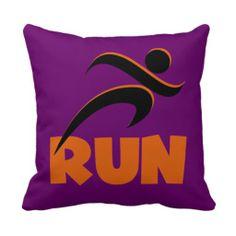 RUN Orange Throw Pillow