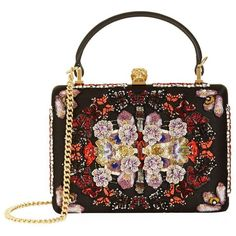 Alexander McQueen Embroidered Top Handle Box Clutch ($2,875) ❤ liked on Polyvore featuring bags, handbags, clutches, top handle handbags, sequin handbags, skull clutches, skull handbags and alexander mcqueen clutches