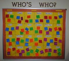 Students answer the following 3 questions on sticky notes: If you could live anywhere, where would it be? If you could work at any job, what would it be? If you could change one thing to make the world a better place, what would it be? Sticky notes are mixed up & redistributed. Each student sticks the notes on the student they think is correct. Beginning Of The School Year, New School Year, First Day Of School, Middle School, High School, School Fun, School Days, Back To School Bulletin Boards, Classroom Bulletin Boards