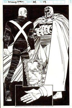 Uncanny X-Men - Professor X and Magneto by John Romita Jr. Comic Book Artists, Comic Artist, Comic Books Art, Marvel Comics Art, Marvel Heroes, Punisher Marvel, Daredevil, Wolverine, Comic Book Drawing